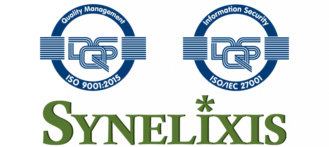 Synelixis certified with ISO 9001:2015 and ISO/IEC 27001:2017